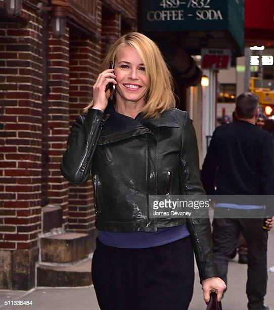 Chelsea Handler arrives to 'The Late Show With Stephen Colbert' at Ed Sullivan Theater on February 19 2016 in New York City