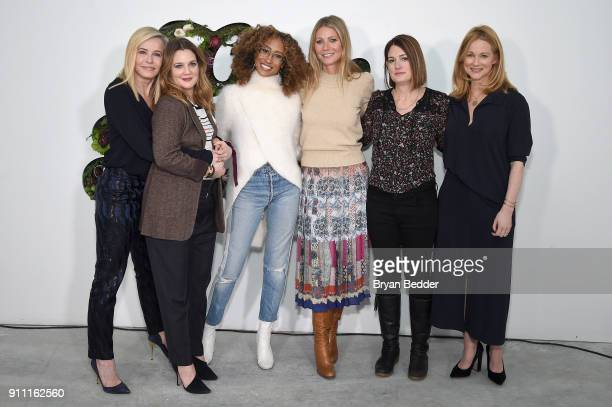 Chelsea Handler, Drew Barrymore, Elaine Welteroth, Gwyneth Paltrow, Gillian Flynn and Laura Linney attend the in goop Health Summit on January 27,...