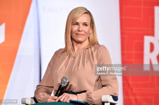 Chelsea Handler speaks onstage at EMILY's List PreOscars Brunch and Panel on February 27 2018 in Los Angeles California