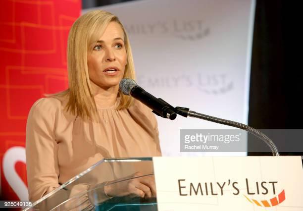 Chelsea Handler speaks onstage at EMILY's List's Resist Run Win PreOscars Brunch on February 27 2018 in Los Angeles California