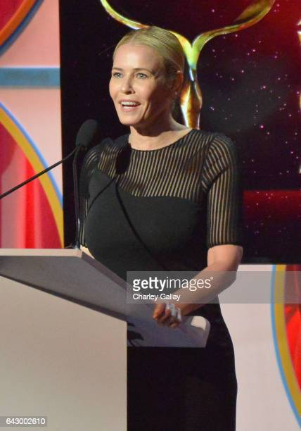 Chelsea Handler speaks onstage during the 2017 Writers Guild Awards LA Ceremony at The Beverly Hilton Hotel on February 19 2017 in Beverly Hills...