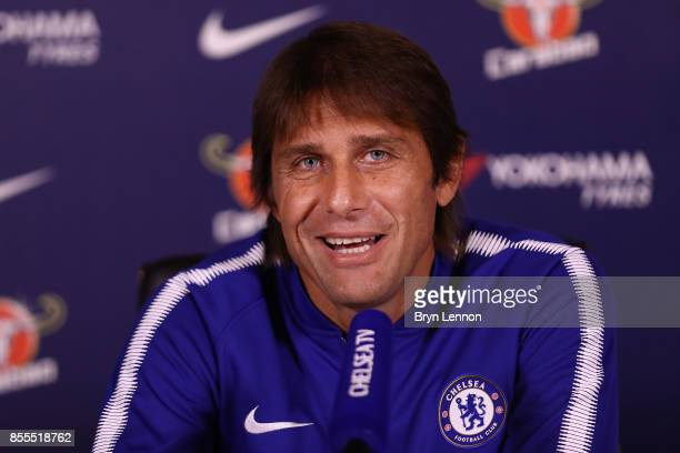 Chelsea Head Coach Antonio Conte talks to the media at Chelsea Training Ground on September 29 2017 in Cobham England