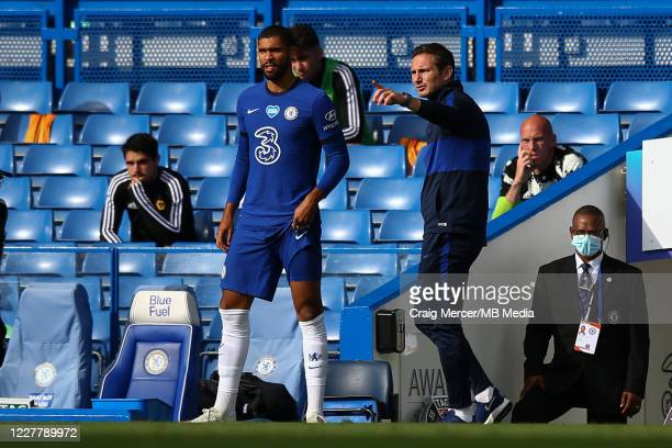 Chelsea head coach Frank Lampard gives instructions to Ruben LoftusCheek as he comes on as a substitute during the Premier League match between...