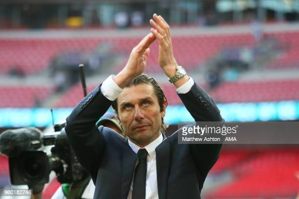 Chelsea Head Coach / Manager Antonio Conte applauds the fans at the end of the Emirates FA Cup Final between Chelsea and Manchester United at Wembley...