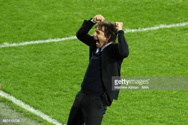 Chelsea Head Coach / Manager Antonio Conte celebrates winning the league as the final whistle is blown at the end of the Premier League match between...