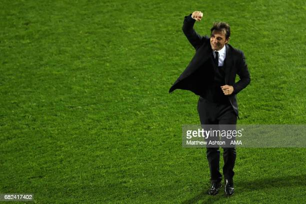 Chelsea Head Coach / Manager Antonio Conte celebrates winning the league at the end of the Premier League match between West Bromwich Albion and...