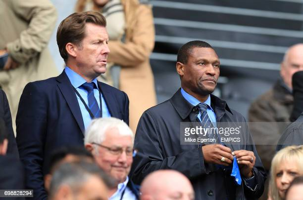 Chelsea Head of Communications Steve Atkins and Technical director Michael Emenalo in the stands before the game