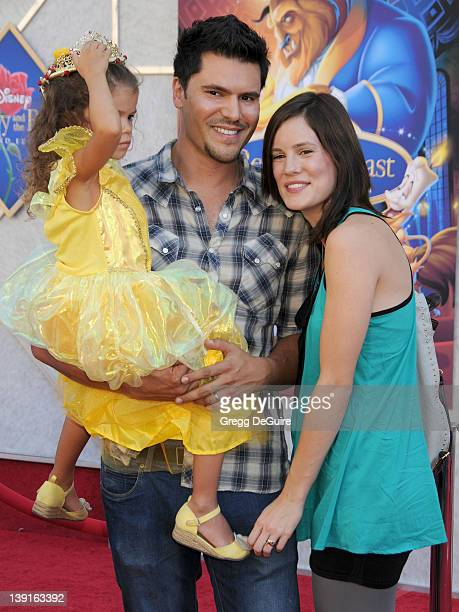 Chelsea Hobbs and husbandTeren Oddo and daughter arrive at the SingALong Premiere of Beauty and the Beast at El Capitan Theatre on October 2 2010 in...