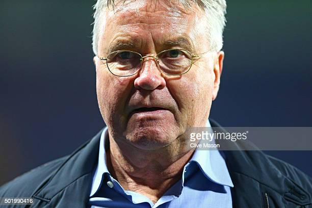 Chelsea interim manager Guus Hiddink looks on after their 31 win in the Barclays Premier League match between Chelsea and Sunderland at Stamford...