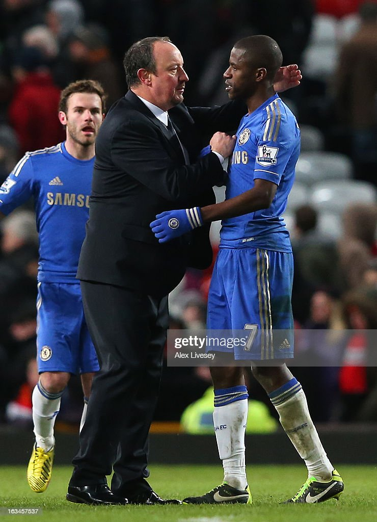 Chelsea Interim Manager Rafael Benitez congratulates Ramires at the end of the FA Cup sponsored by Budweiser Sixth Round match between Manchester United and Chelsea at Old Trafford on March 10, 2013 in Manchester, England.