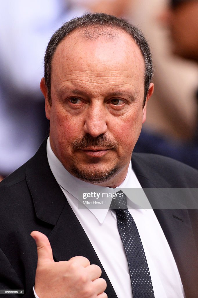 Chelsea Interim Manager Rafael Benitez gives a thumbs up prior to the FA Cup with Budweiser Semi Final match between Chelsea and Manchester City at Wembley Stadium on April 14, 2013 in London, England.