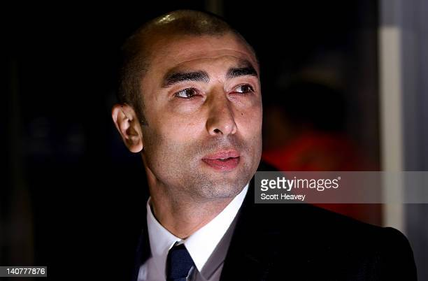 Chelsea interim manager Roberto Di Matteo during the FA Cup Fifth Round Replay between Birmingham City and Chelsea at St Andrews on March 6 2012 in...