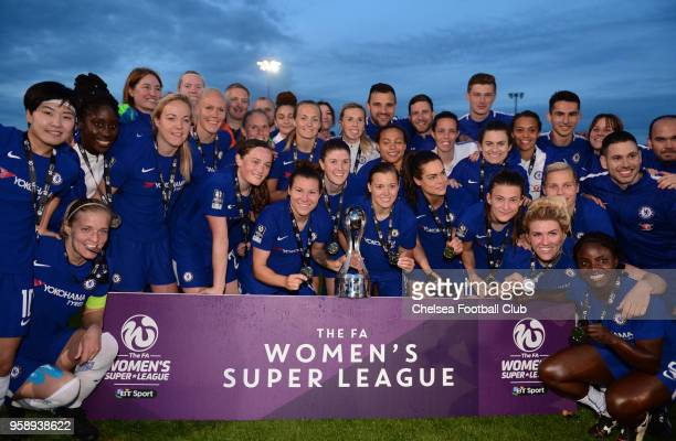 Chelsea Ladies celebrate winning the WSL after a WSL match between Bristol City Women and Chelsea Ladies at the Stoke Gifford Stadium on May 15 2018...