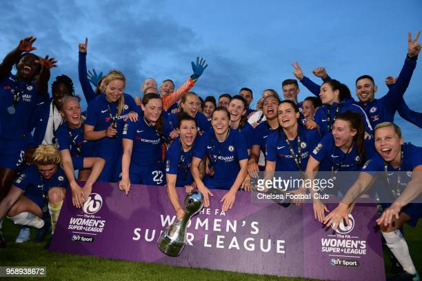 Chelsea Ladies celebrate winning the WSL after a WSL match between Bristol City Women and Chelsea Ladies at the Stoke Gifford Stadium on May 15, 2018...