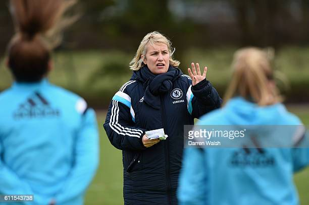 Chelsea Ladies Emma Hayes during a training session at the Cobham Training Ground on 28th January 2015 in Cobham, England.