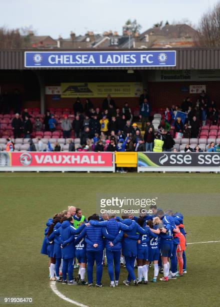 Chelsea Ladies FC after a FA Women's Cup 5th Round match between Chelsea and Doncaster Rovers Belles at The Cherry Red Records Stadium on February 18...