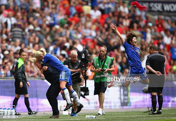 Chelsea Ladies FC manager Emma Hayes Katie Chapman and Ji SoYun celebrates after winning the Women's FA Cup Final match between Chelsea Ladies FC v...