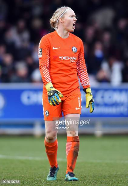 Chelsea Ladies Hedvig Lindahl shouts instructions to her team during the Continental Tyres Cup semifinals match between Chelsea Ladies against...