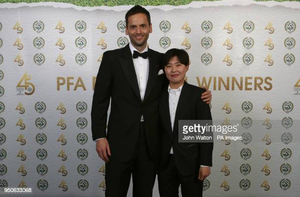 Chelsea Ladies' Ji So Yun and PFA chairman Ben Purkiss during the 2018 PFA Awards at the Grosvenor House Hotel London