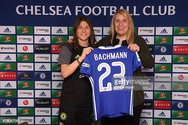 Chelsea Ladies manager Emma Hayes with New Singing Ramona Bachmann at Stamford Bridge on December 6 2016 in London England