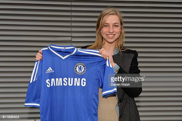 Chelsea Ladies new signing Jackie Groenen at the Cobham Training Ground on 20th February 2014 in Cobham England