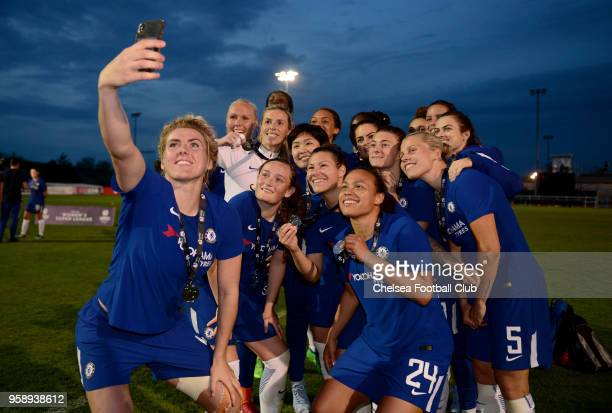 Chelsea Ladies pose for a selfie after a WSL match between Bristol City Women and Chelsea Ladies at the Stoke Gifford Stadium on May 15, 2018 in...