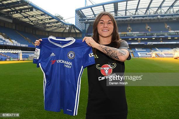 Chelsea Ladies Unveil New Singing Ramona Bachmann at Stamford Bridge on December 6 2016 in London England