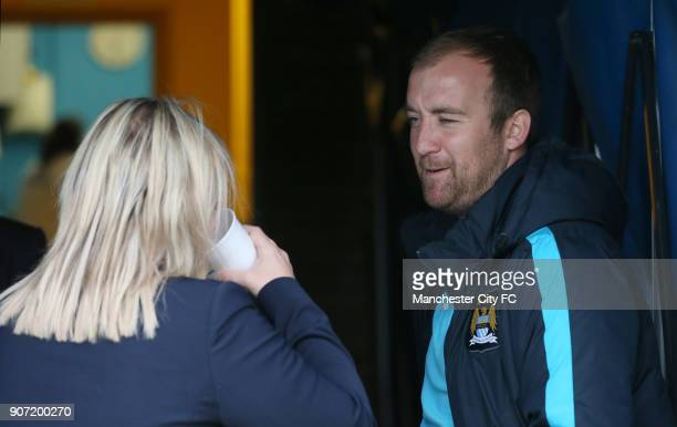 Chelsea Ladies v Manchester City Women FA Womens Super League Wheatsheaf Park Chelsea manager Emma Hayes talks to Manchester City manager Nick Cushing