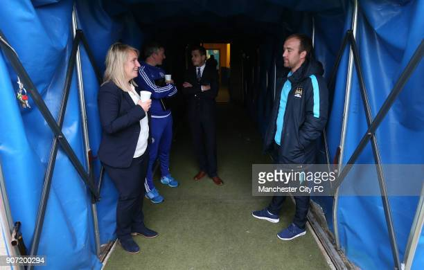 Chelsea Ladies v Manchester City Women FA Womens Super League Wheatsheaf Park Chelsea manager Emma Hayes talks to Manchester City manager Nick...