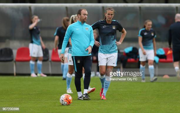 Chelsea Ladies v Manchester City Women FA Womens Super League Wheatsheaf Park Manchester City manager Nick Cushing talks to Jill Scott during the...