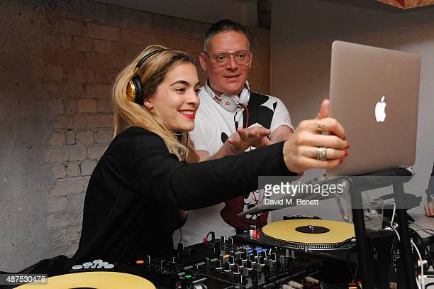 Chelsea Leyland and Giles Deacon attend the new concept store 'The Duke Street Emporium' launched by The Jigsaw Group on April 30 2014 in London...