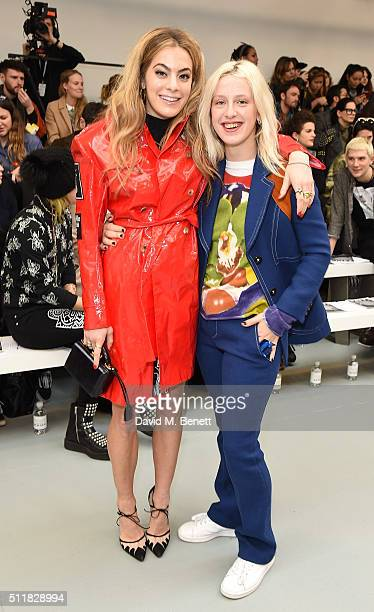 Chelsea Leyland and Harriet Verney attends the Ashley Williams show during London Fashion Week Autumn/Winter 2016/17 at Brewer Street Car Park on...