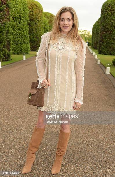 Chelsea Leyland attends The Ralph Lauren Vogue Wimbledon Summer Cocktail Party hosted by Alexandra Shulman and Boris Becker at The Orangery at...
