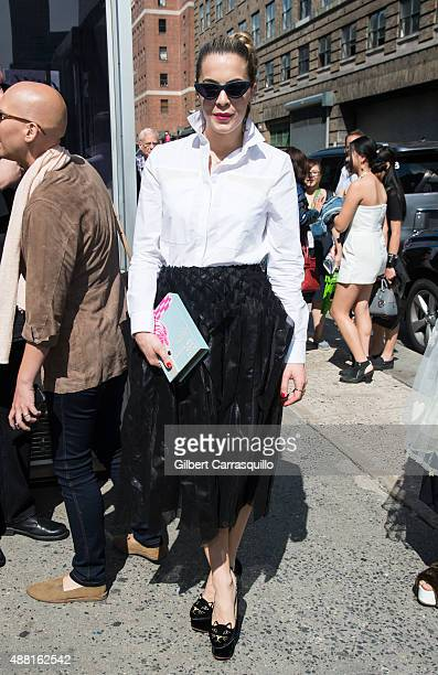 Chelsea Leyland is seen arriving at Public School fashion show during Spring 2016 New York Fashion Week on September 13 2015 in New York City