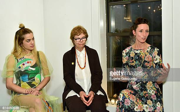 Chelsea Leyland Pat Jonas and Annie Novak attend the Garden Collage and Phaidon Press Host A Botany Salon on October 13 2016 in Brooklyn New York