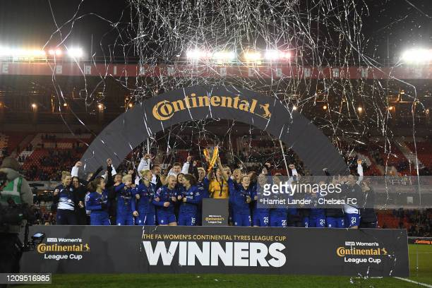 Chelsea lift the Continental Cup during the FA Women's Continental League Cup Final Chelsea FC Women and Arsenal FC Women at City Ground on February...