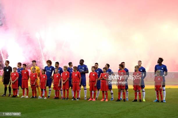 Chelsea line up during the preseason friendly match between RB Salzburg and FC Chelsea at Red Bull Arena on July 31 2019 in Salzburg Austria