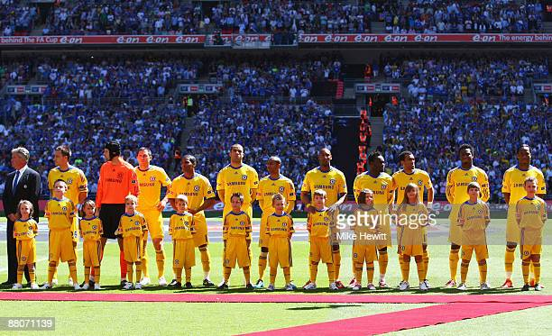Chelsea line up prior to the FA Cup sponsored by EON Final match between Chelsea and Everton at Wembley Stadium on May 30 2009 in London England