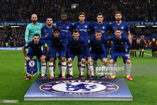 Chelsea line up prior to the UEFA Champions League round of 16 first leg match between Chelsea FC and FC Bayern Muenchen at Stamford Bridge on...