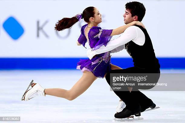 Chelsea Liu and Brian Johnson from USA skate during the Pairs Free Skating program of the ISU World Junior Figure Skating Championships 2016 at The...