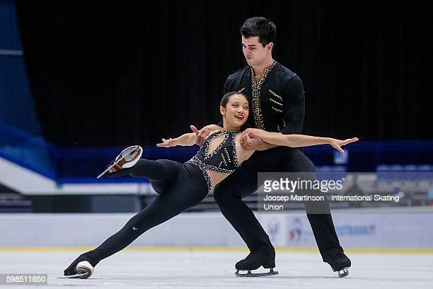 Chelsea Liu and Brian Johnson of the United States compete during the pairs short program on day one of the ISU Junior Grand Prix of Figure Skating...