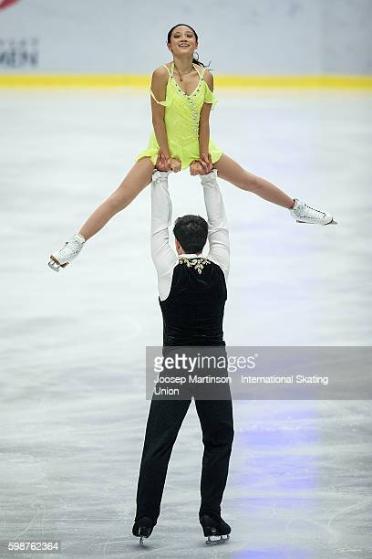 Chelsea Liu and Brian Johnson of the United States compete during the junior pairs free skating on day two of the ISU Junior Grand Prix of Figure...