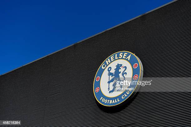 Chelsea logo is pictured prior to the Barclays Premier League match between Chelsea and Queens Park Rangers at Stamford Bridge on November 1 2014 in...