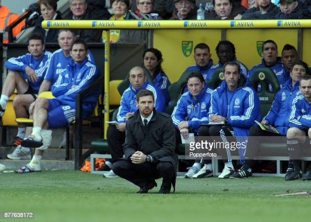 Chelsea Manager Andre Villas Boas looks on during the Barclays Premier League match between West Bromwich Albion and Chelsea at Carrow Road on...