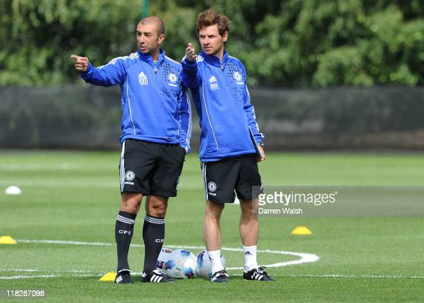 Chelsea manager Andre Villas-Boas with Assistant 1st team coach Roberto Di Matteo during a training session at the Cobham Training Ground on July 6,...