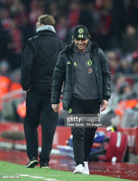 Chelsea manager Antonio Conte after sharing a joke with Liverpool manager Jurgen Klopp on the touchline during the Premier League match at the...