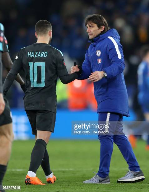 Chelsea manager Antonio Conte and Eden Hazard after the Emirates FA Cup quarter final match at the King Power Stadium Leicester