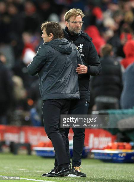 Chelsea manager Antonio Conte and Liverpool manager Jurgen Klopp shake hands after the Premier League match at Anfield Liverpool