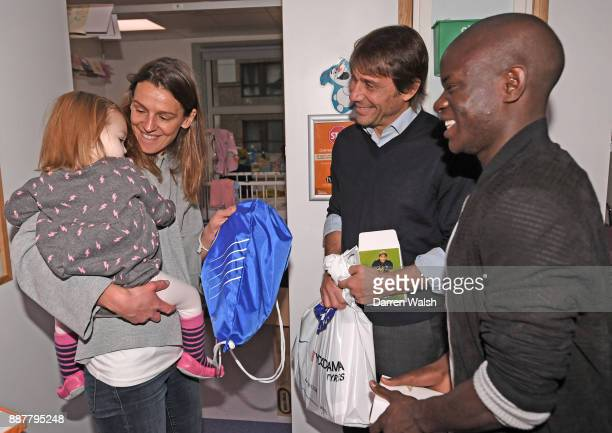Chelsea Manager Antonio Conte and N'golo Kante of Chelsea at the Chelsea and Westminster Hospital on December 7 2017 in London England