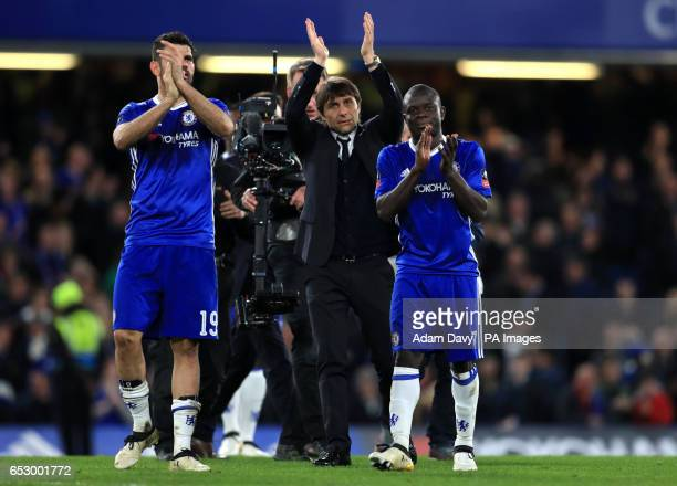 Chelsea manager Antonio Conte and players Ngolo Kante and Diego Costa celebrate at full time during the Emirates FA Cup Quarter Final match at...